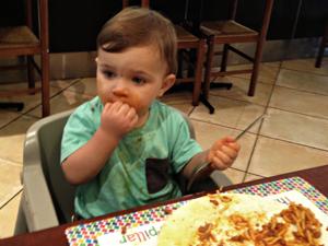 Owen eating dairy free pasta