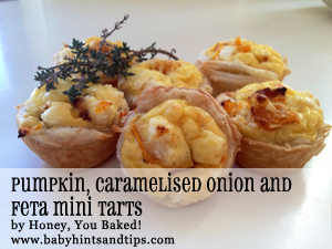 Pumpkin, caramelised onion and feta mini tarts | BabyHints&Tips