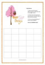 free printable baby shower games - baby gift bingo pink