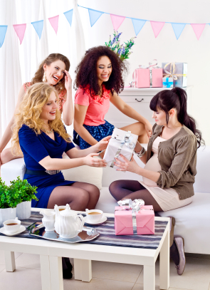 women opening gifts