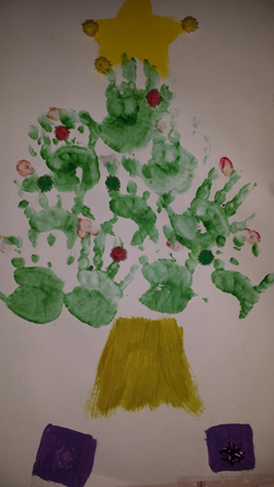 Christmas tree hand painting