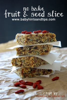 No bake fruit and seed slice