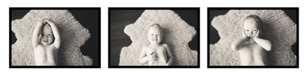 3 photos of baby on lamb skin rug
