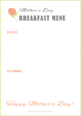 Mother's Day Breakfast Menu