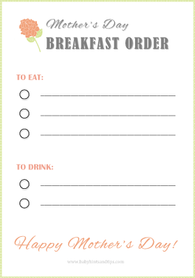 Mother's Day Breakfast Order Blank