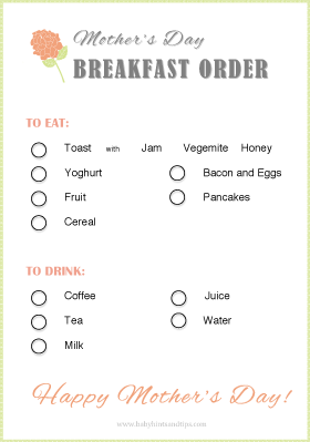 Mother's Day Breakfast Order