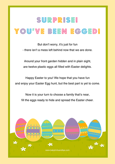 photo relating to You've Been Egged Printable known as Youve Been Egged - Egg Your Mates Room For Children
